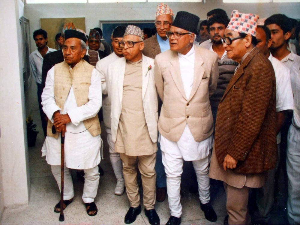 From left - G.M. Singh. Y.P. Upadhyay, K.P. Bhattarai, Lainsingh Bangdel and K.N. Bista on the back at the centre viewing the exhibition of Bandel's Fifty Years of His Art - 1991