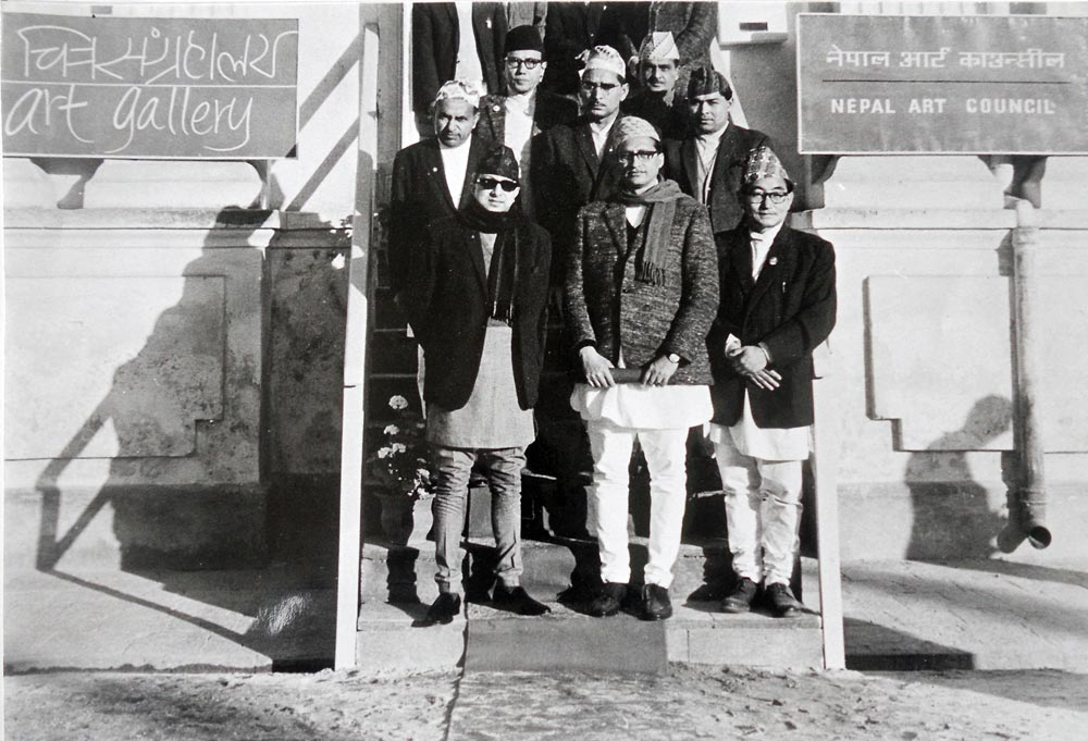 A group photo with the then His Majesty after the anauguration of reproductive painting exhibition at Babar Mahal - 1967